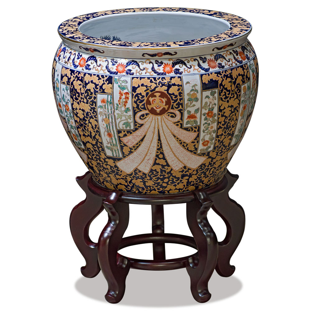 14 Inch Floral Motif Chinese Fishbowl Planter