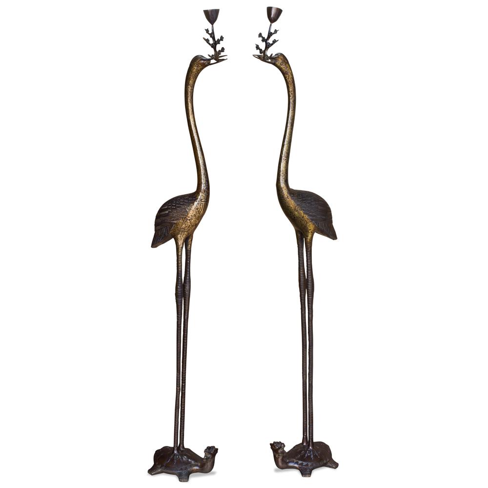 Hand Forged Bronze Longevity Pair of Cranes