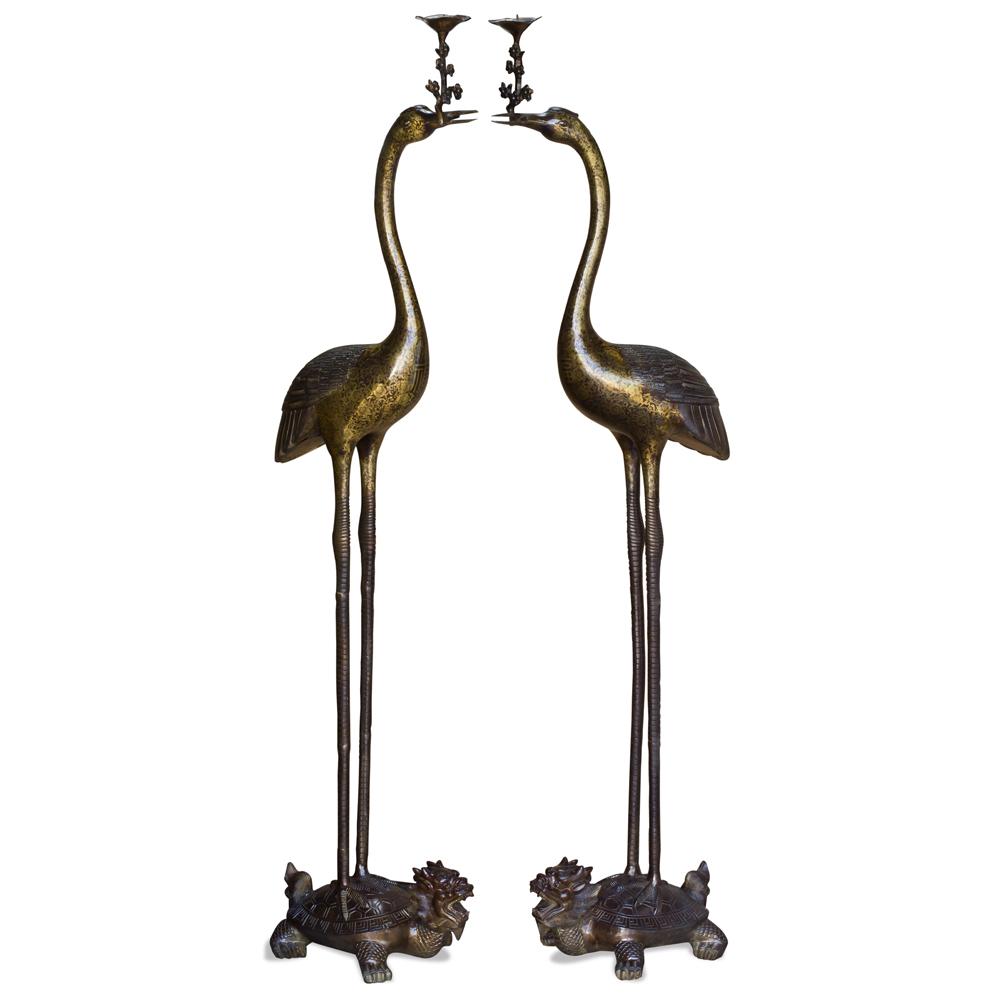 61 Inch Hand Forged Bronze Longevity Pair of Cranes