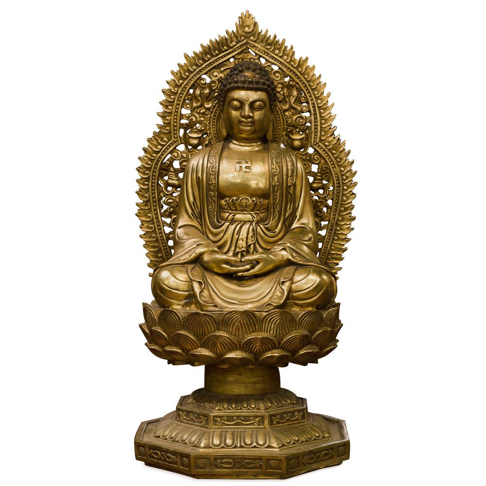 Bronze Buddha Asian Statue in Dhyana Mudra