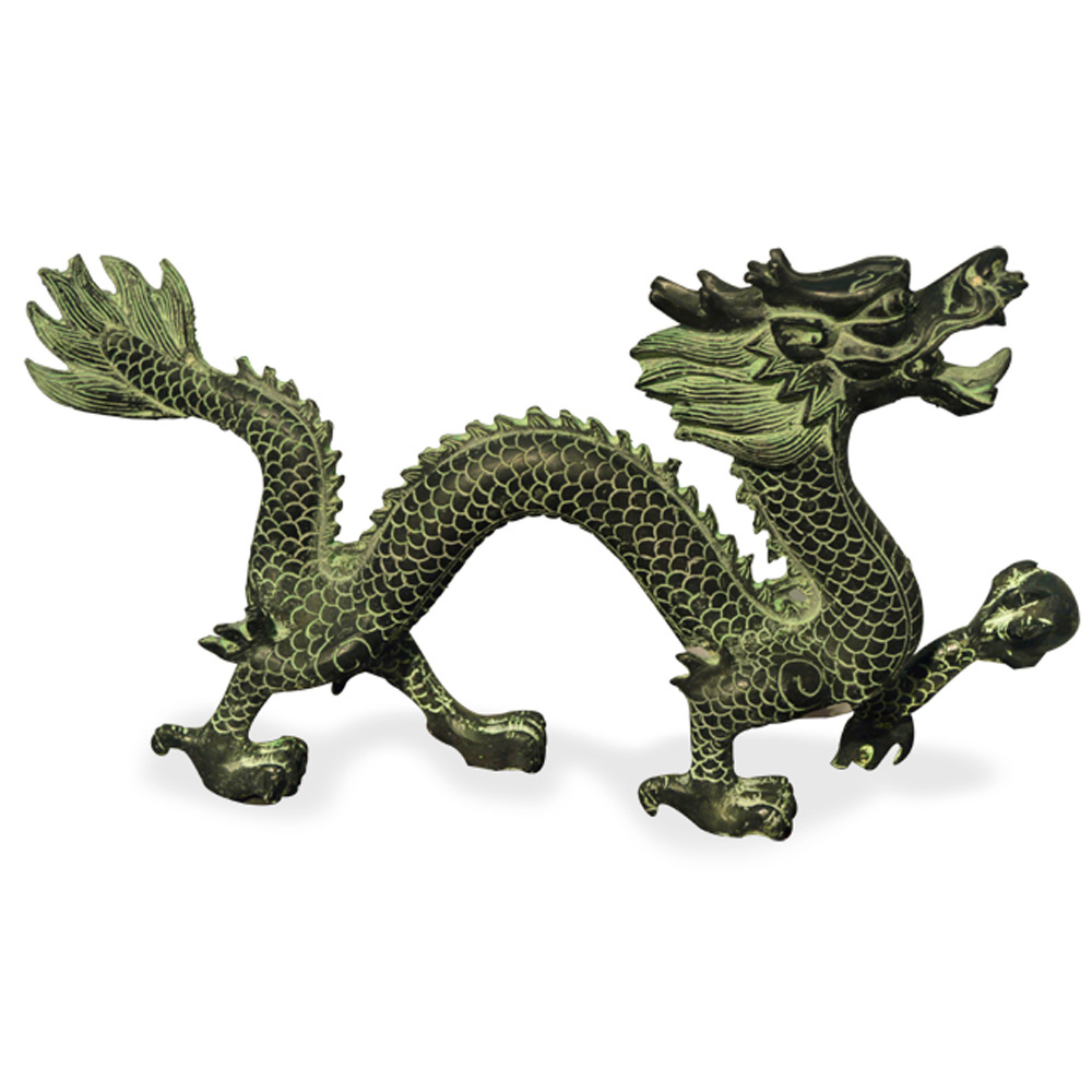 Patina Bronze Prosperity Dragon Oriental Figurine