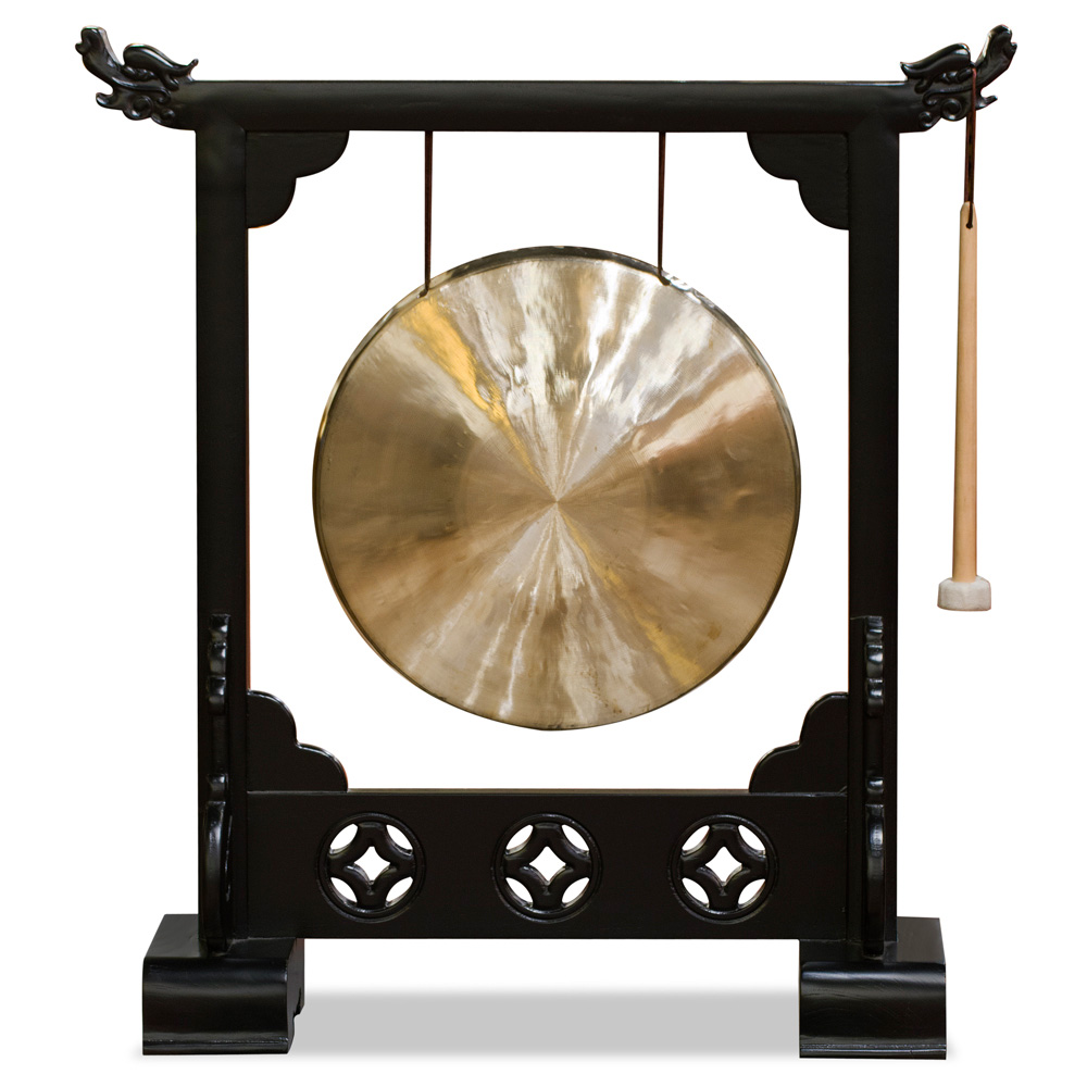 Brass Chinese Gong With Black Elmwood Dragon Frame