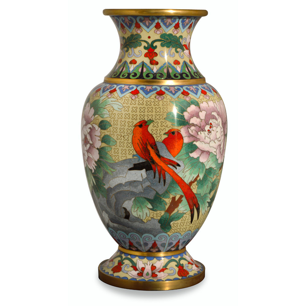 Earth Toned Peony and Birds Cloisonne Vase