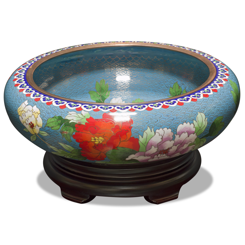 Blue Bird and Flower Motif Oriental Cloisonne Bowl