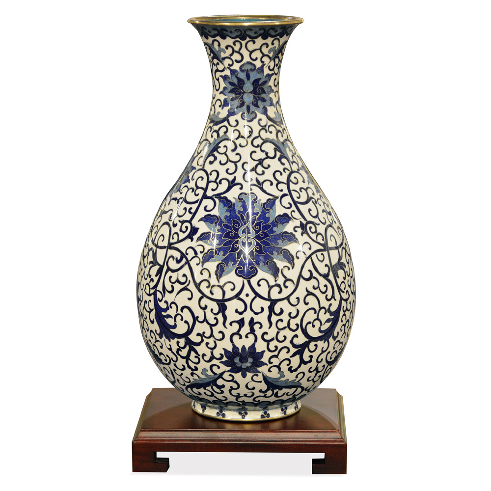 Blue and White Imperial Cloisonne Vase