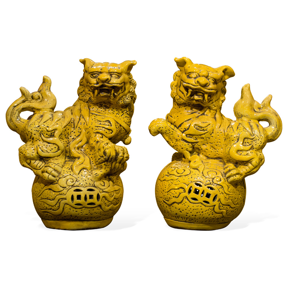 Yellow Imperial Porcelain Chinese Foo Dog Set
