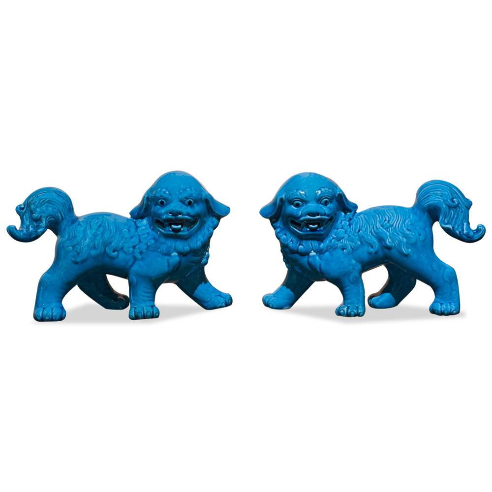 Blue Porcelain Standing Chinese Foo Dog Set