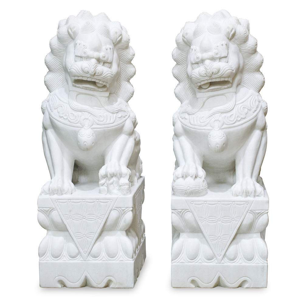 Marble Imperial Palace Chinese Foo Dog Entry Statue Set