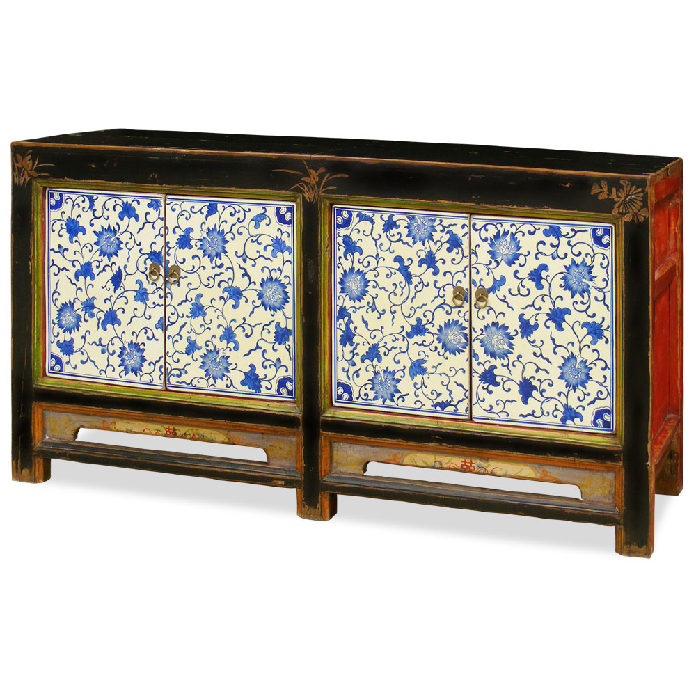 Hand Painted Elmwood Floral Pattern Mongolian Cabinet
