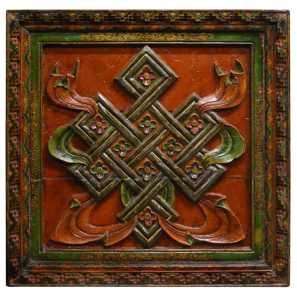 Tibetan Design Wooden Wall Panel