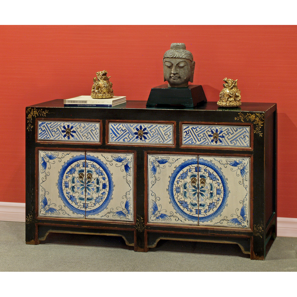 Hand Painted 4-Door Mongolian Cabinet