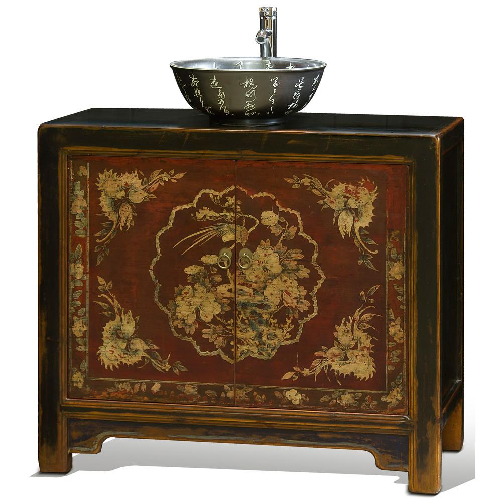 Hand-Painted Tibetan Style Vanity Cabinet