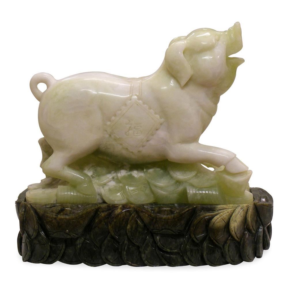 Oriental Jade Boar on Treasure
