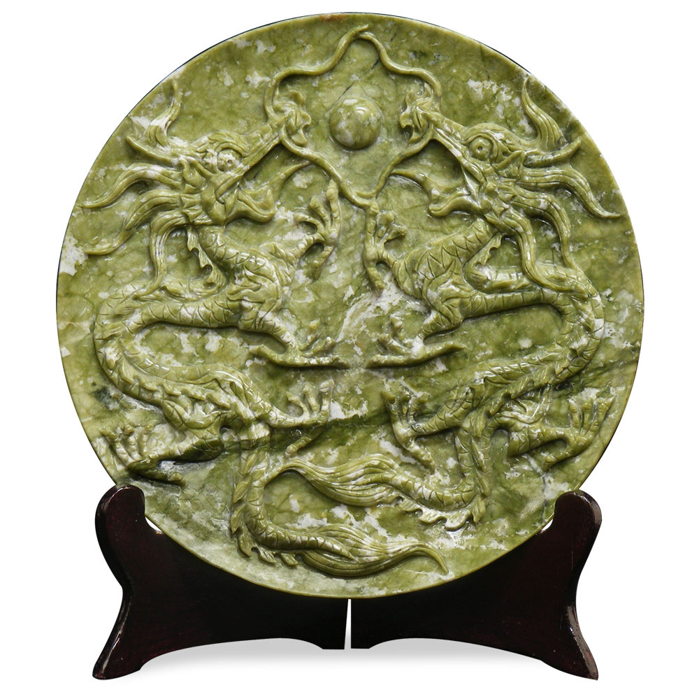 Double Dragon Oriental Jade Decorative Plate