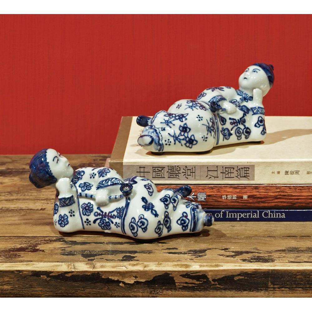 Porcelain Blue & White Boy Girl Pair