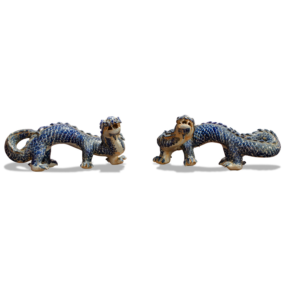 Blue and White Porcelain Double Dragons Asian Figurines