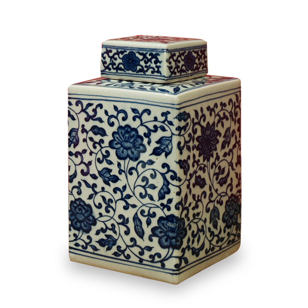 Blue and White Porcelain Tea Jar with Flowers
