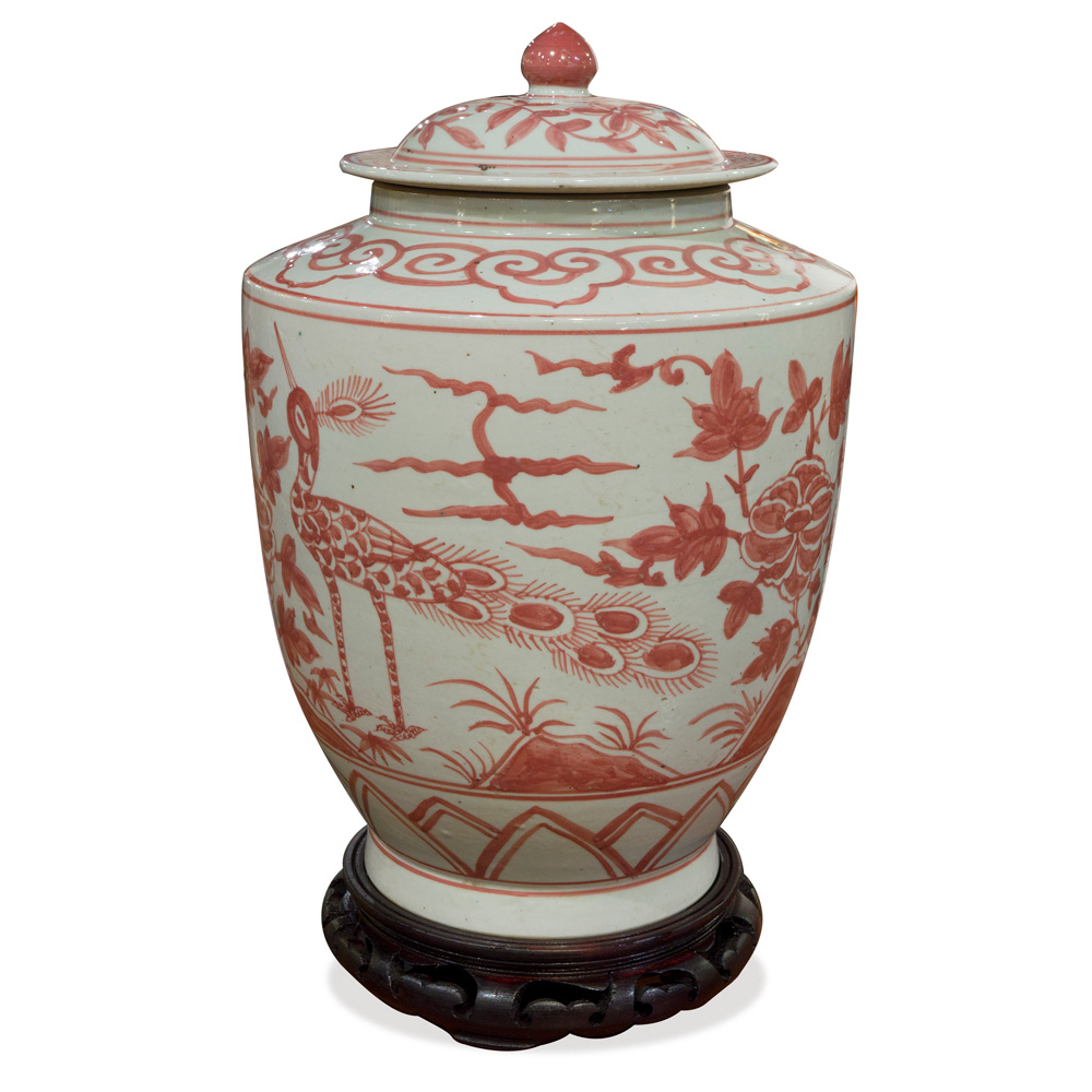 Red and White Porcelain Tea Jar with Peacock