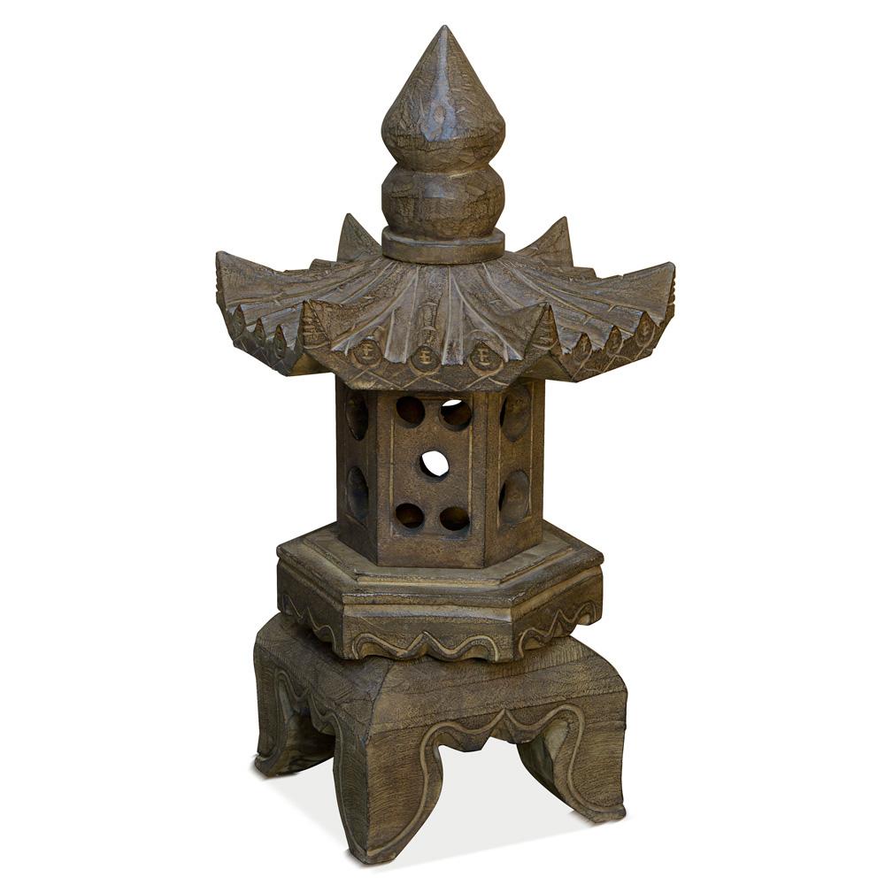 Stone Pagoda Lantern with 6 Faces