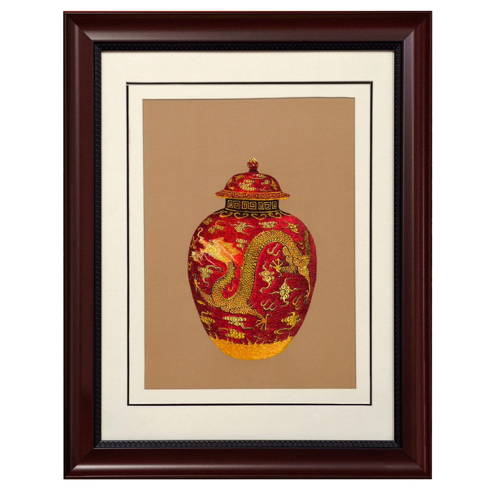 Chinese Silk Embroidery of Gold Dragon on Red Ginger Jar