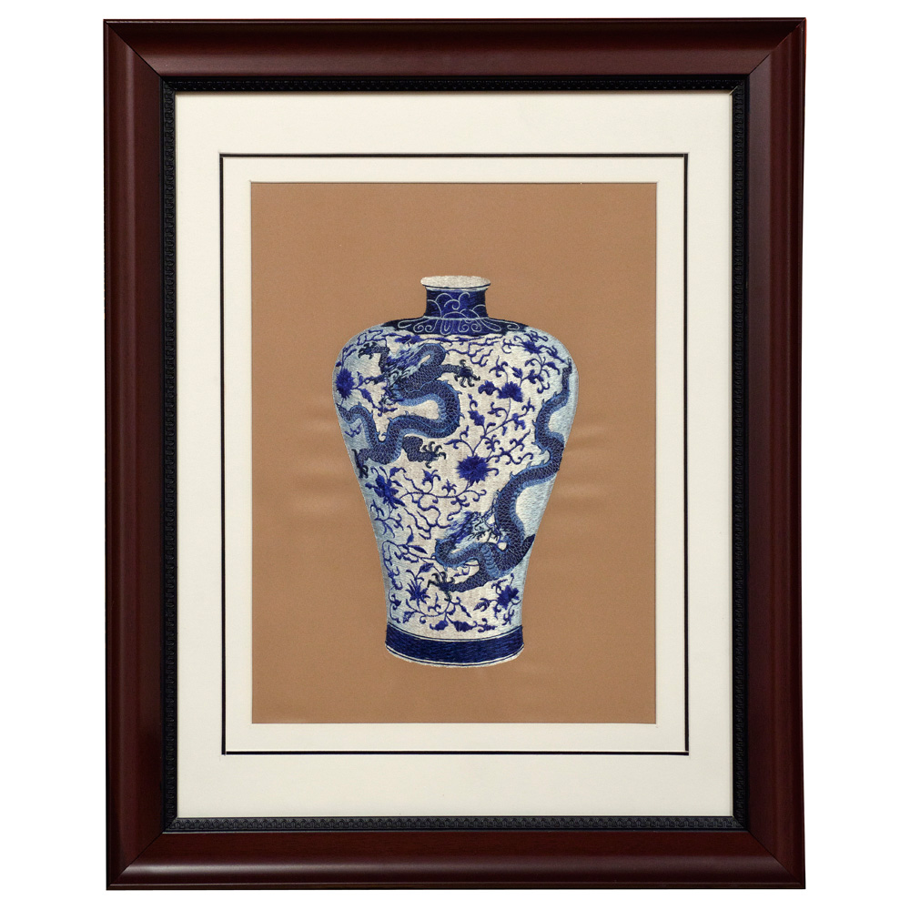 Chinese Silk Embroidery of Blue and White Vase with Prosperity Dragons