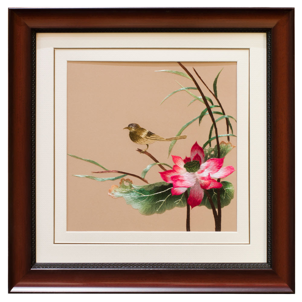 Chinese Silk Embroidery of Green Finch on Lotus