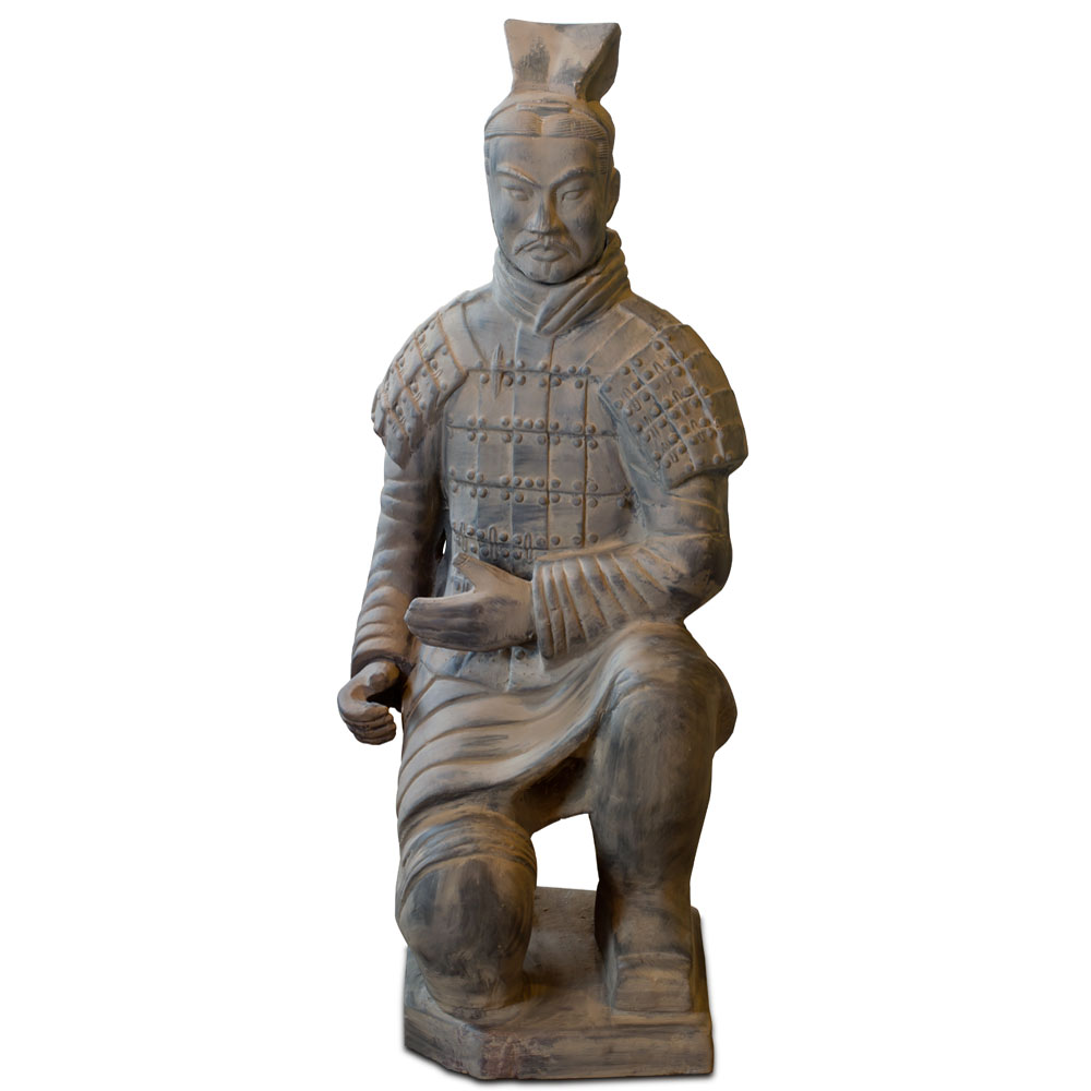 36 Inch Terracotta Kneeling Archer Warrior