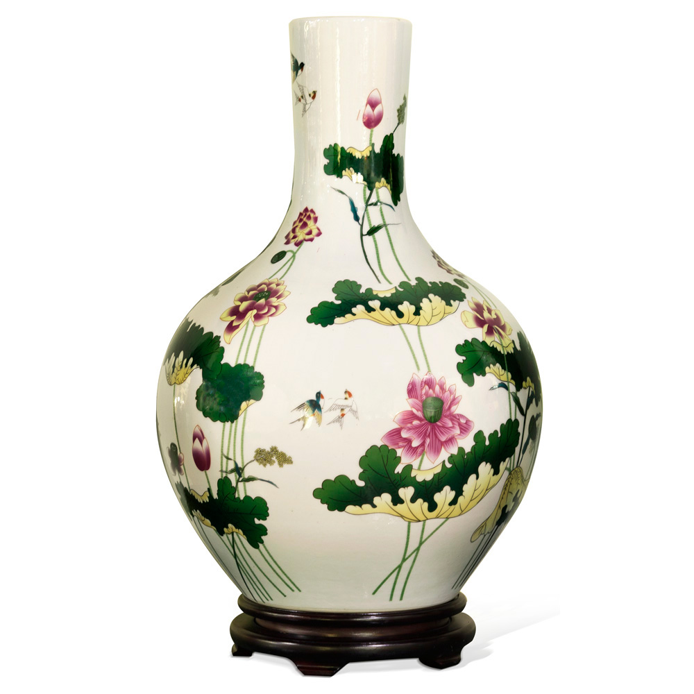 White Porcelain Temple Vase with Pink Lotus
