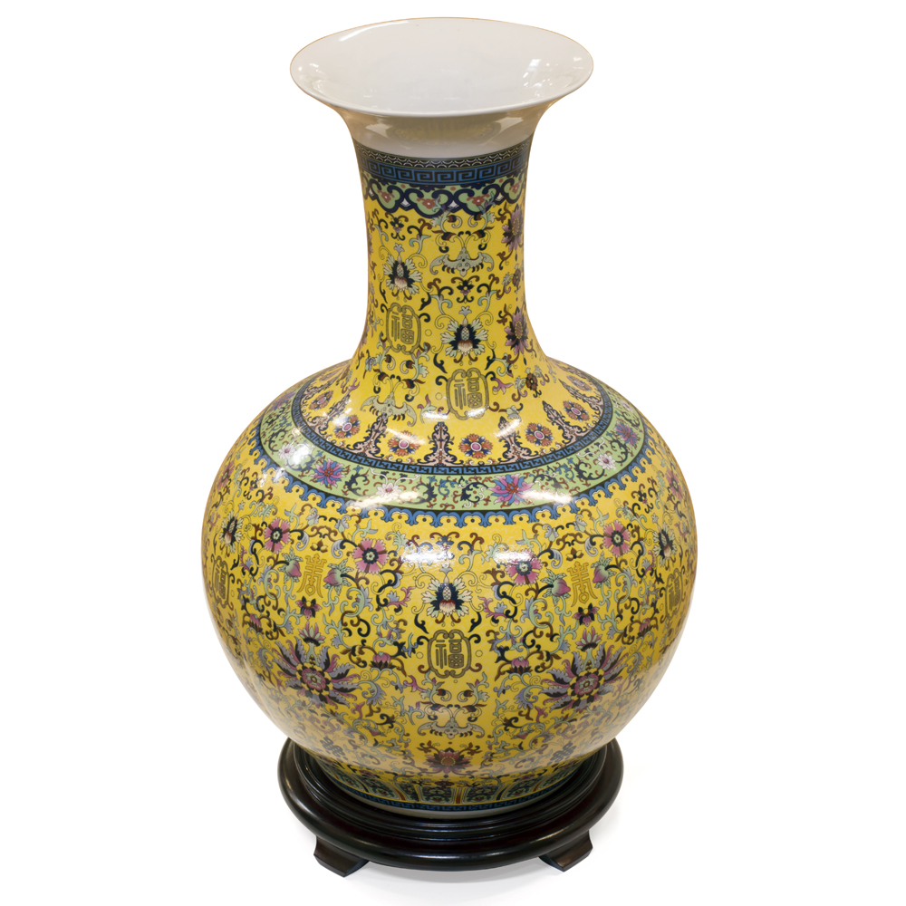 Yellow Imperial Porcelain Chinese Temple Vase