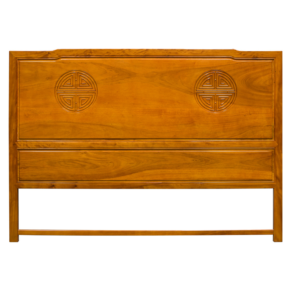 Natural Finish Rosewood Longevity King Size Chinese Headboard