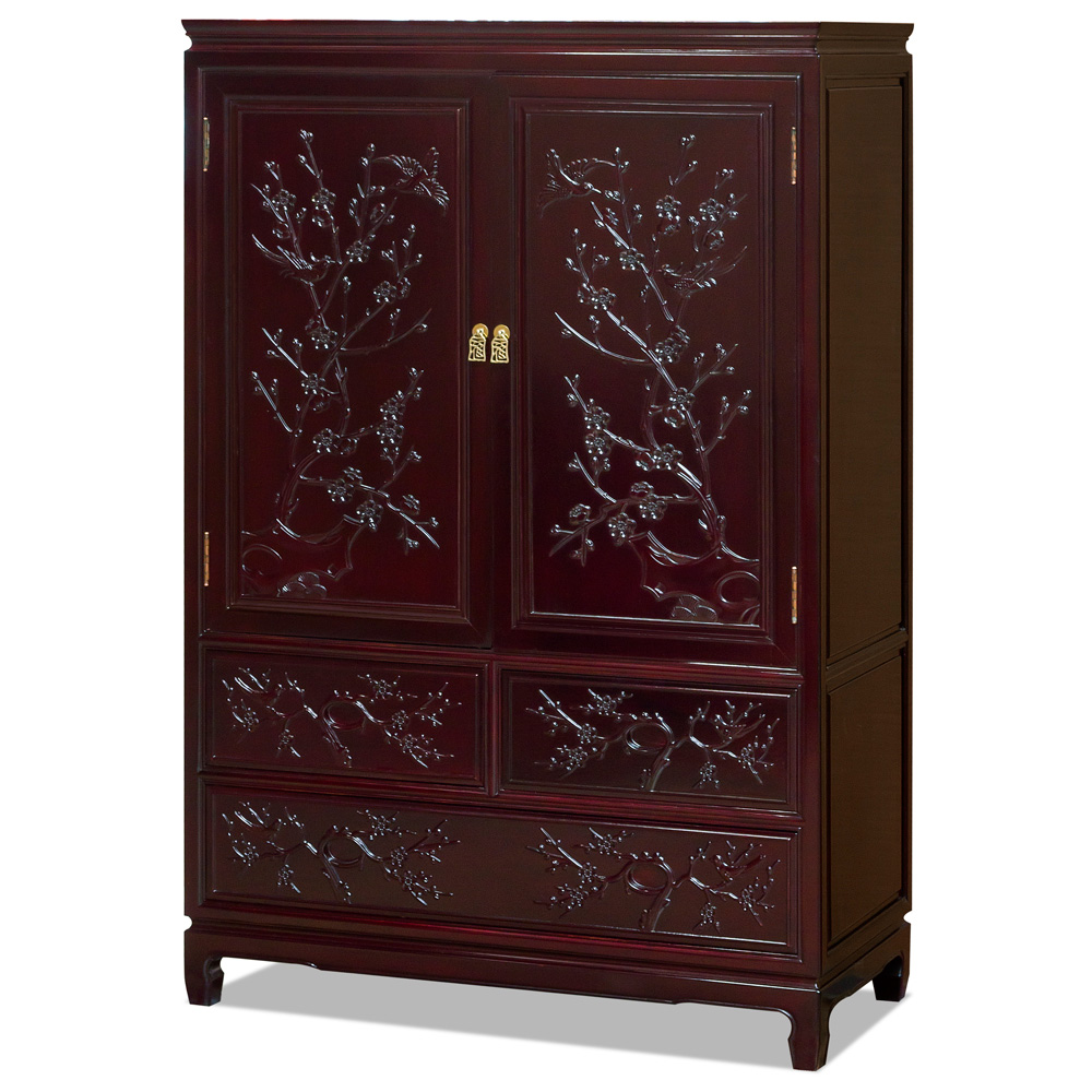 Dark Cherry Rosewood Flower and Bird Armoire