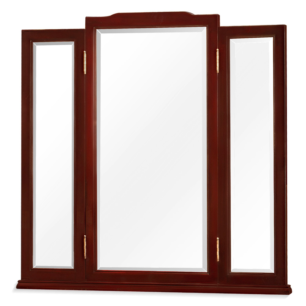 Dark Cherry Rosewood Oriental Folding Mirror
