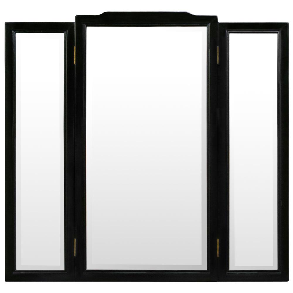 Black Rosewood Oriental Folding Mirror