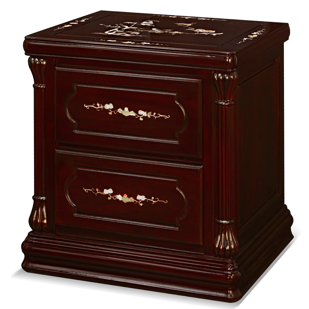 Dark Cherry Rosewood Mother of Pearl Inlay Chinese Nightstand