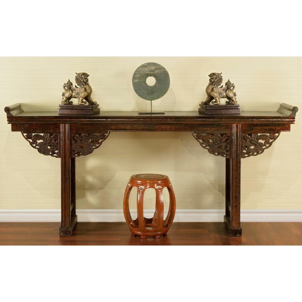 Distressed Dark Espresso Elmwood Qing Altar Table