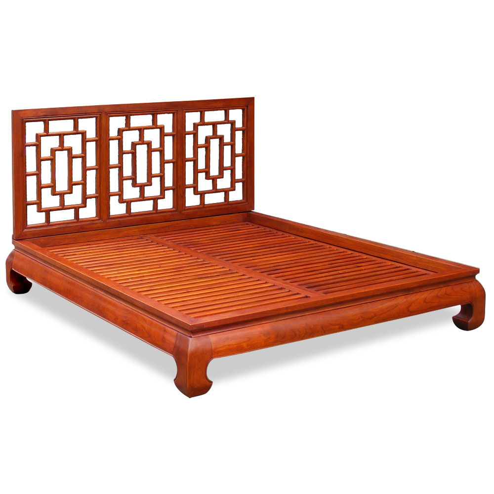 Honey Elmwood Ming Queen Size Chinese Platform Bed with Lattice Headboard