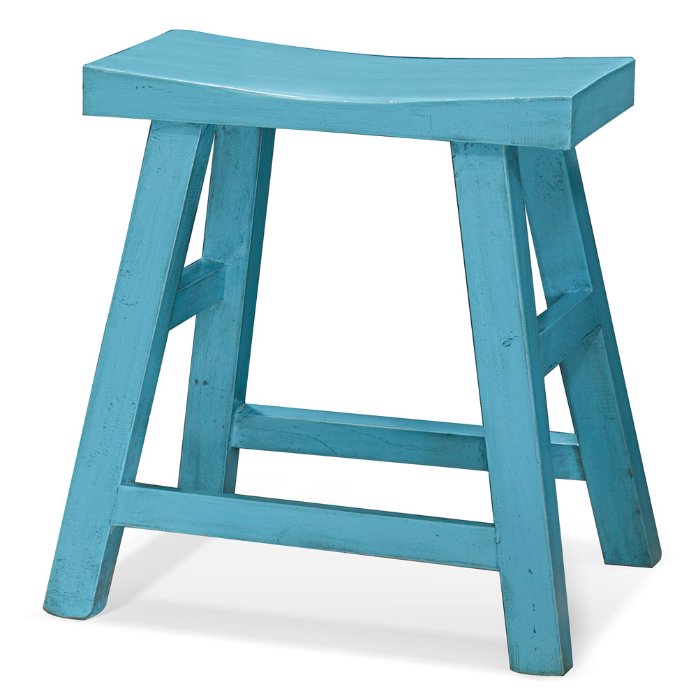 Distressed Light Blue Elmwood Zen Style Asian Stool