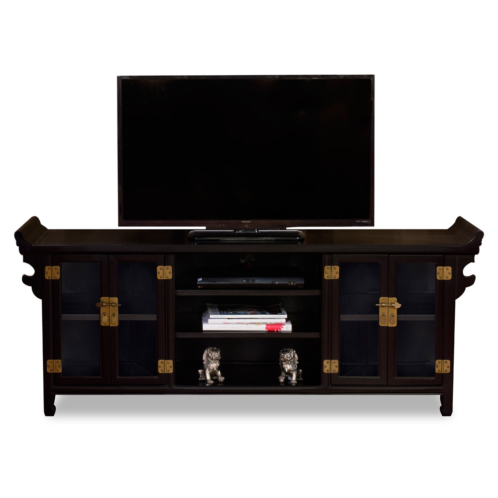 Matte Black Elmwood Chinese Altar Media Cabinet