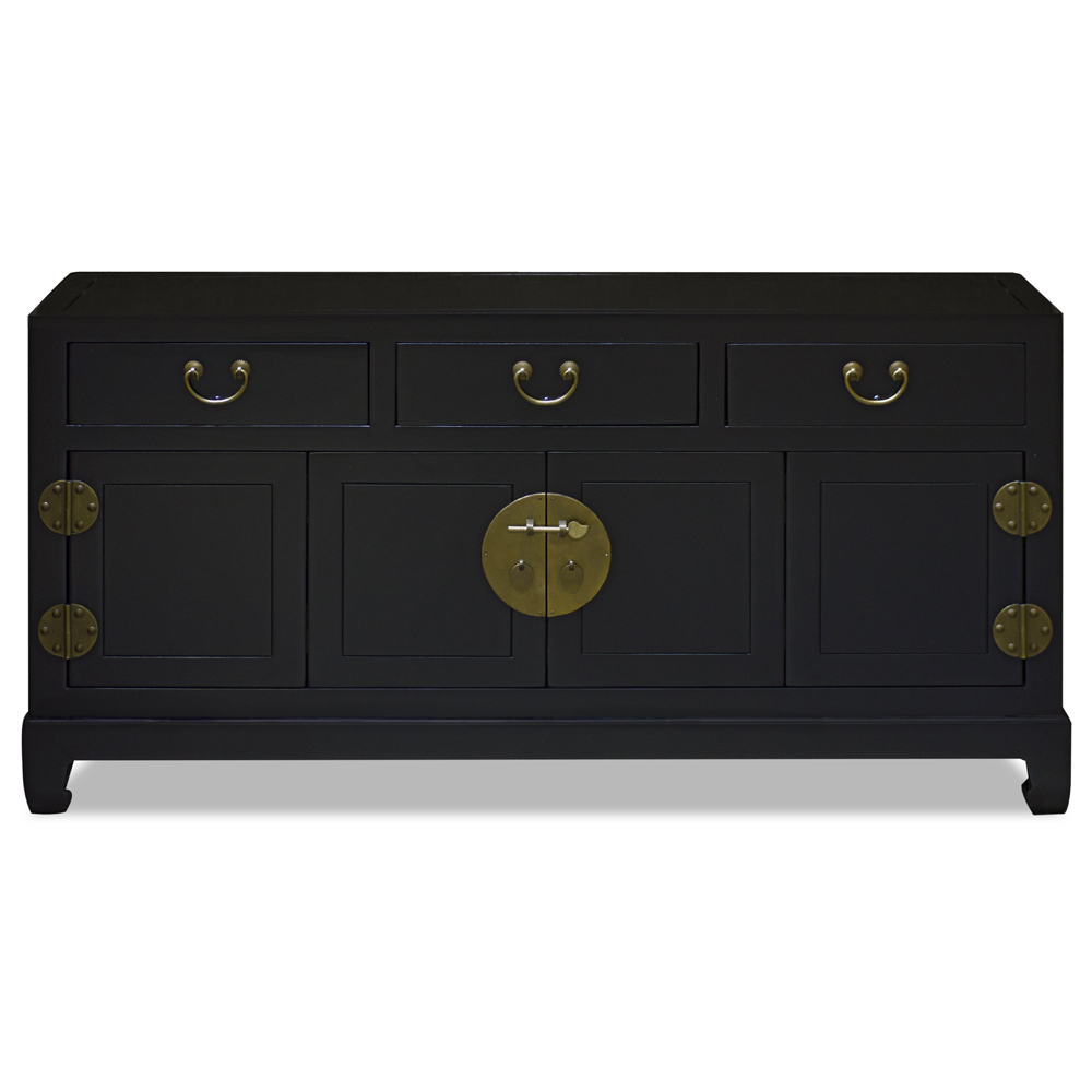 Matte Black Elmwood Bi-Fold Door Chinese Ming Media Cabinet