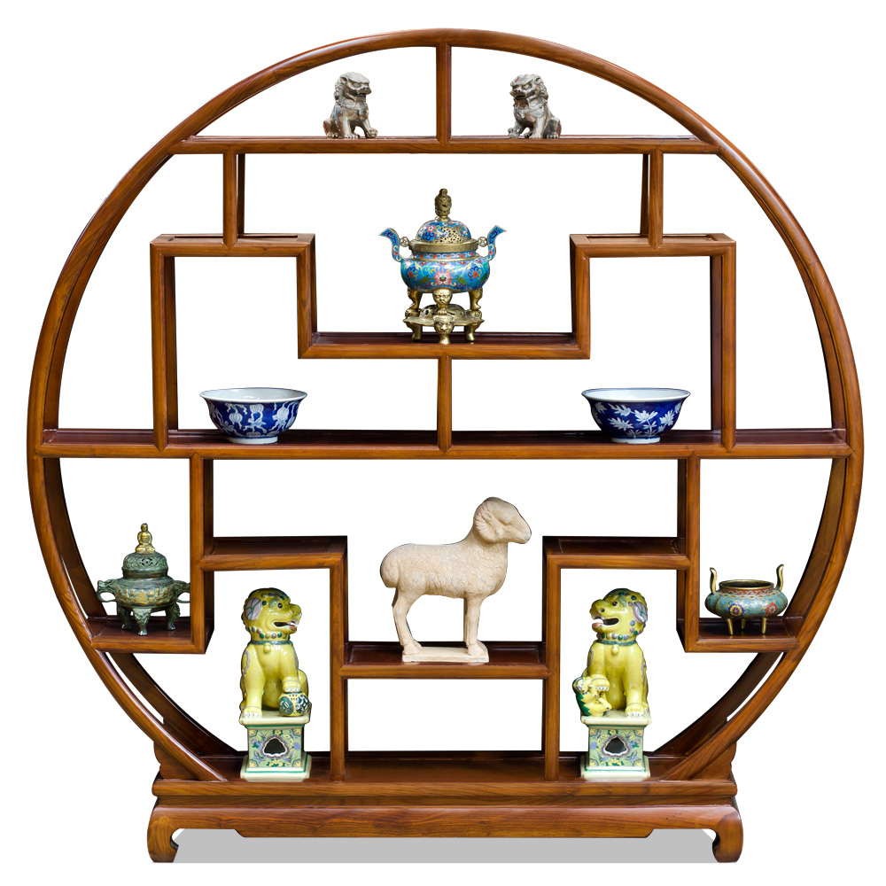 Mahogany Finish Elmwood Asian Moon Curio Stand