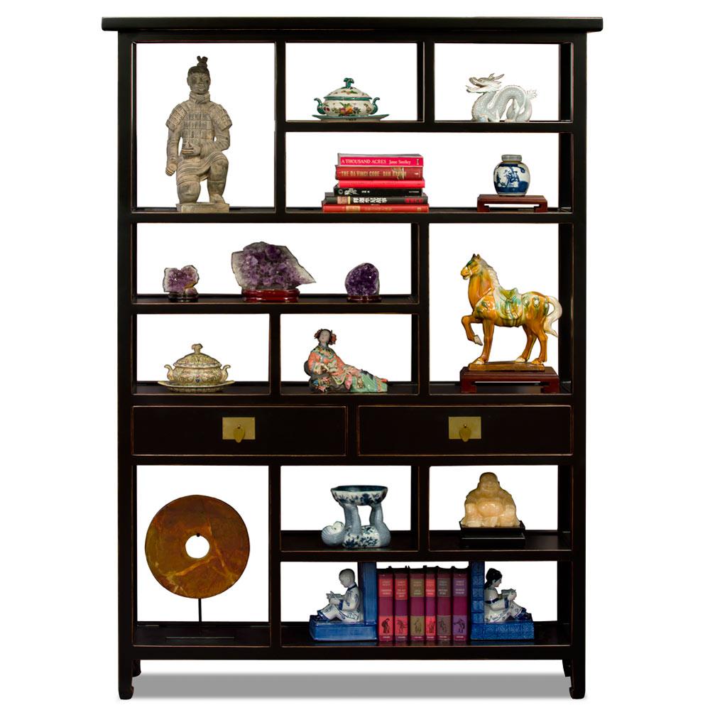 Distressed Black Elmwood Asian Curio Display Bookshelf