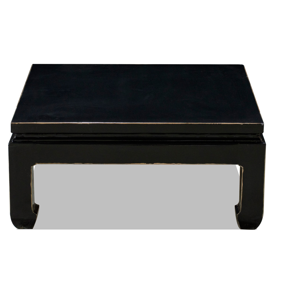 Distressed Black Elmwood Ming Square Coffee Table