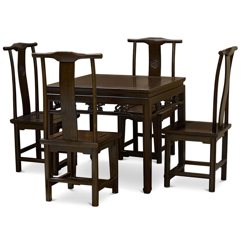 Dark Espresso Elmwood Ba Xian Oriental Dining Set