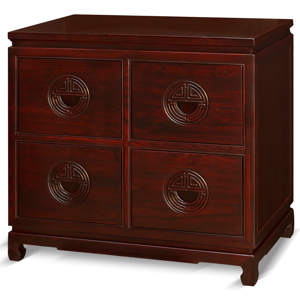 Dark Cherry Elmwood Chinese Longevity File Cabinet with 4 Drawers