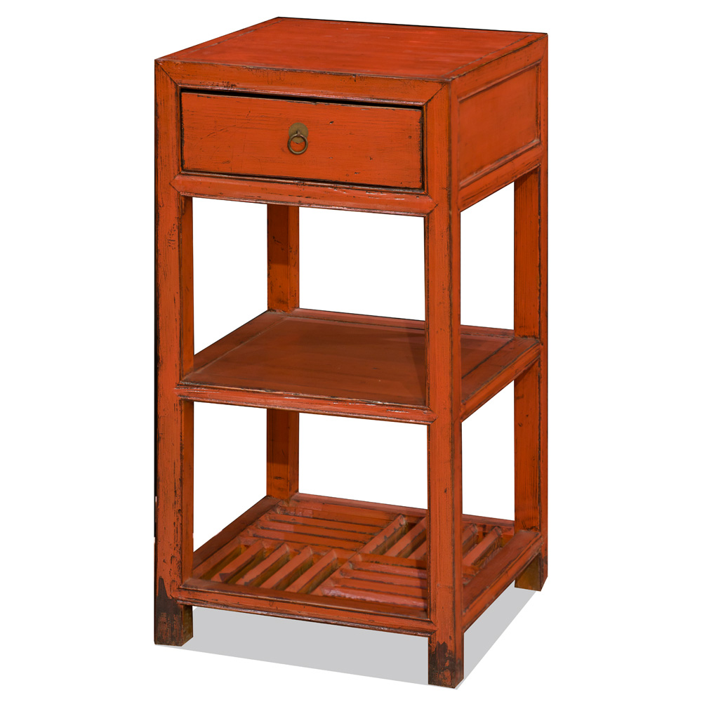 Distressed Orange Elmwood Pedestal