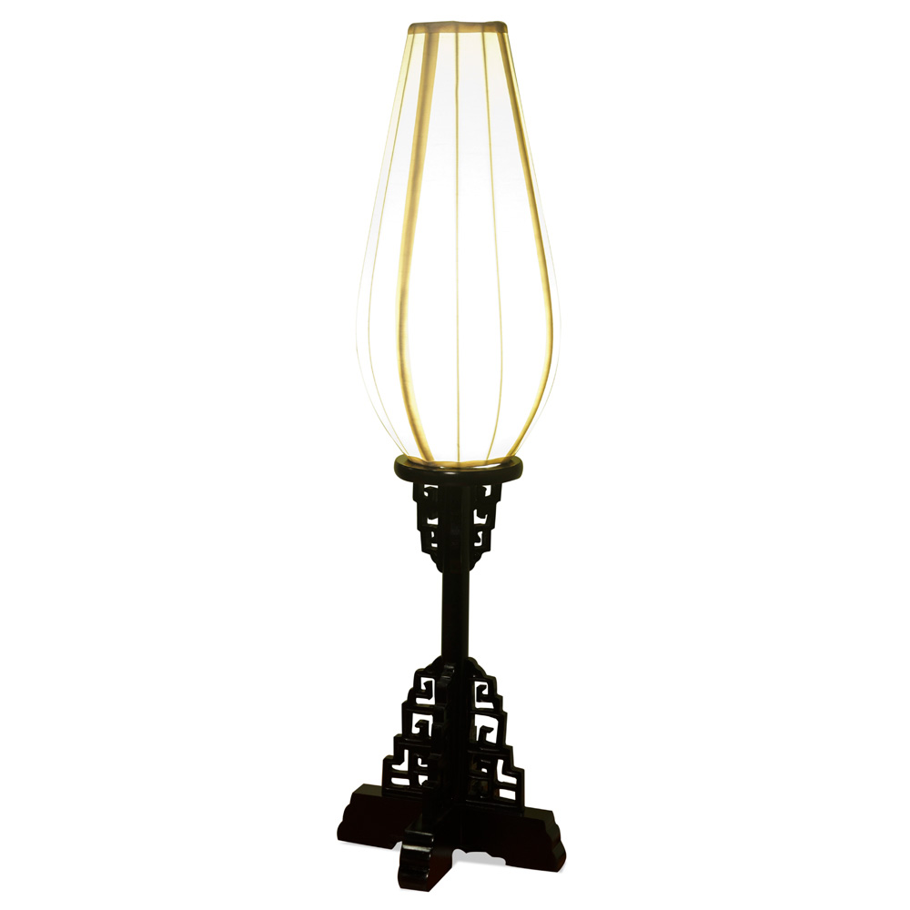 Elmwood Imperial Asian Table Lantern with White Shade