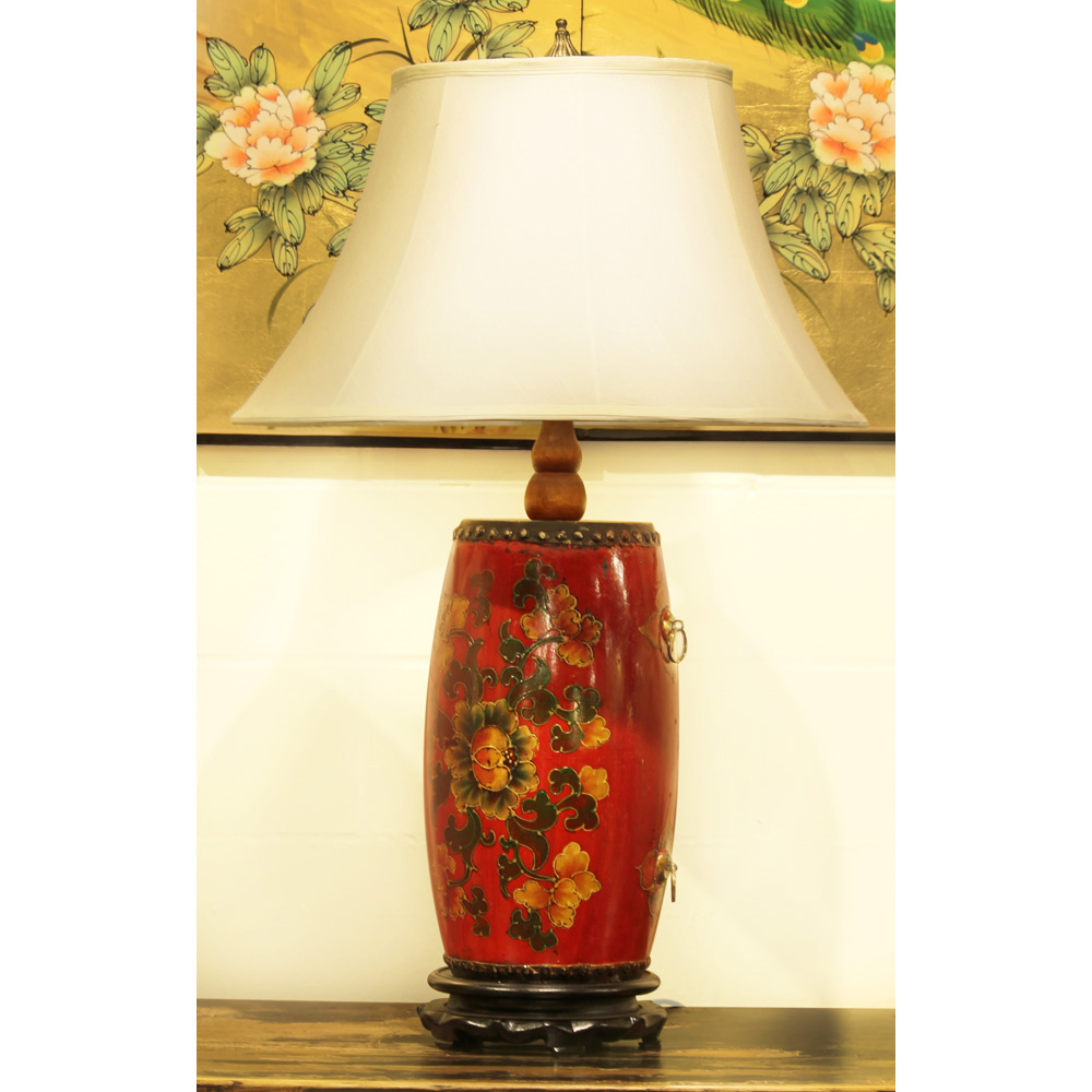 Tibetan Drum Lamp With Silk Shade