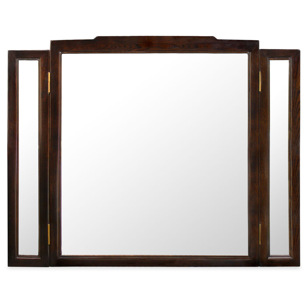 Tea Finish Elmwood Folding Mirror