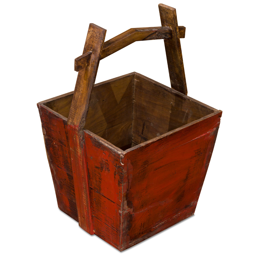 Vintage Red Wooden Oriental Water Bucket