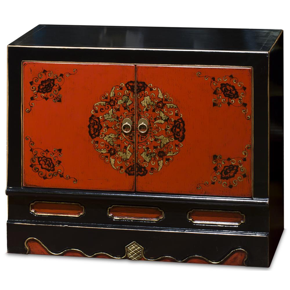Dark Sinopia Elmwood Tibetan Floral Motif Cabinet